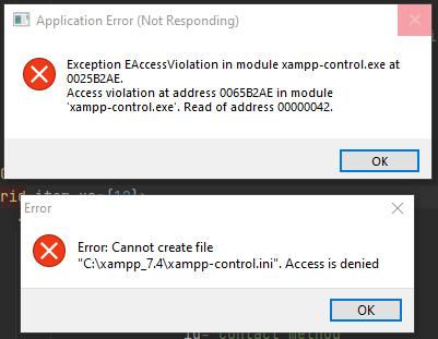 xampp-control.ini Access is denied